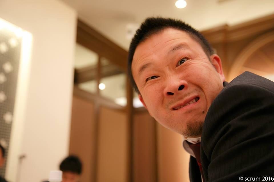 研修チーム川合正知サブリーダー(柏YEG)。もはや変顔は名物です。